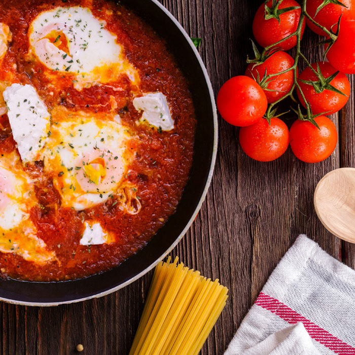 Easy eggs in spicy tomato sauce